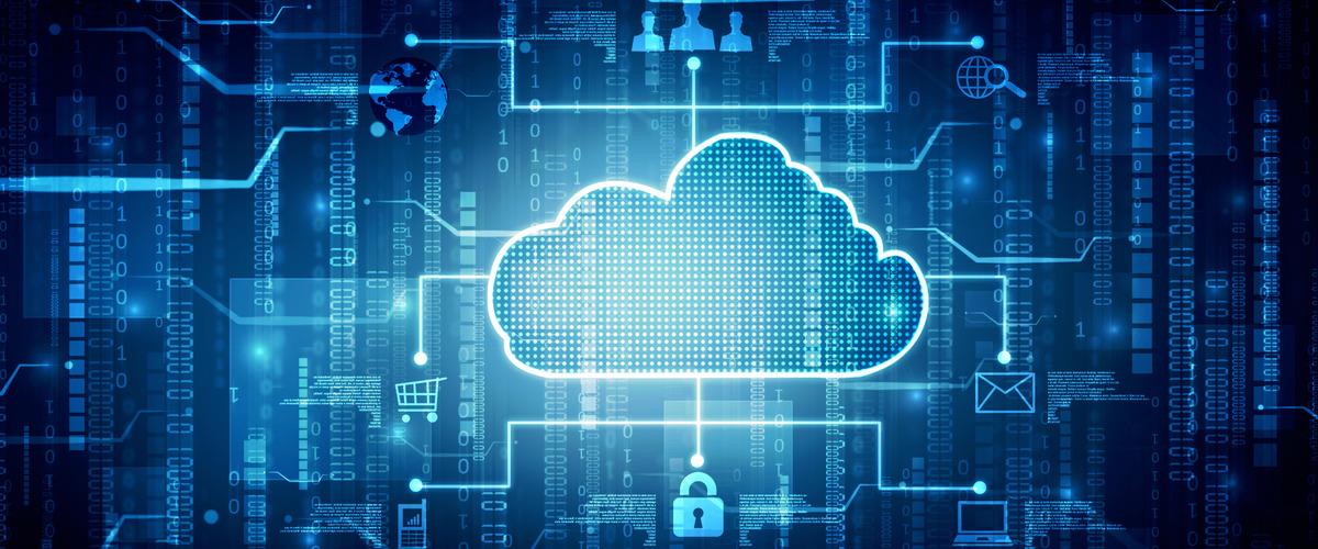 Digitale wolk (cloud) met aftakkingen waarvan een leidt tot een slotje