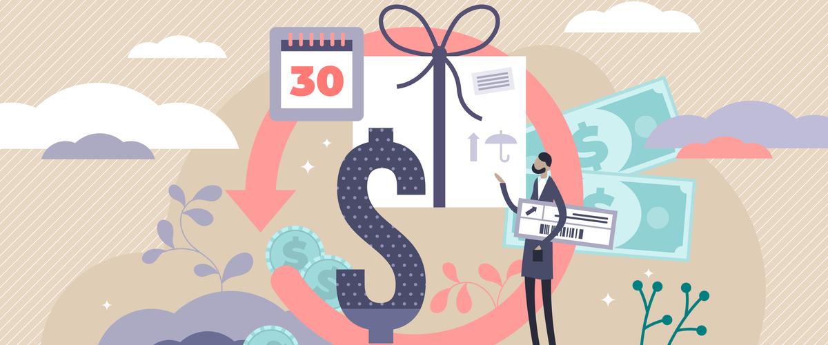 """Geillustreerde man met een dollarteken en een datum """"30"""" op de kalender"""
