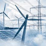 Een blend van verschillende soorten energie; windmolens, zonnepanelen en energiemasten