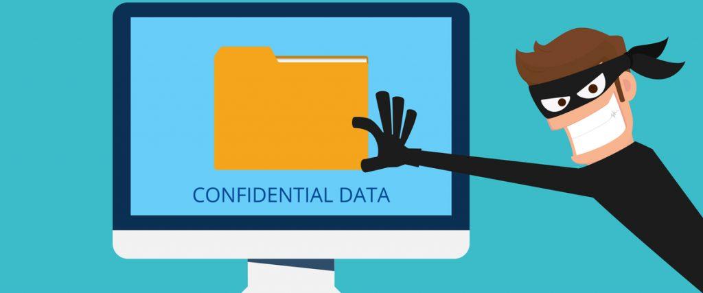 Een dief die persoonlijke informatie probeert te stelen vanaf een computerscherm (wbni)