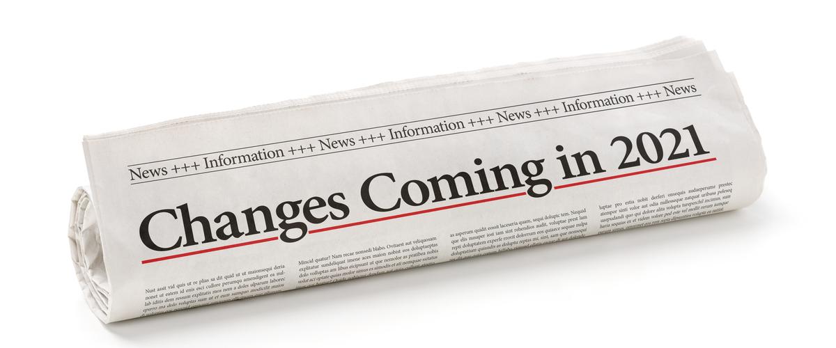"""Krant waarop """"veranderingen die in 2021 komen"""" staat"""