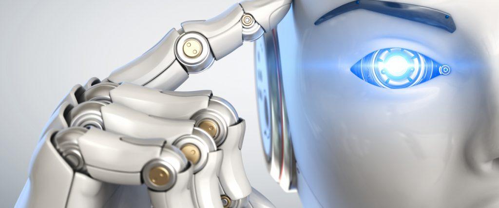 Robot die een wijsvinger tegen zijn slaap houdt