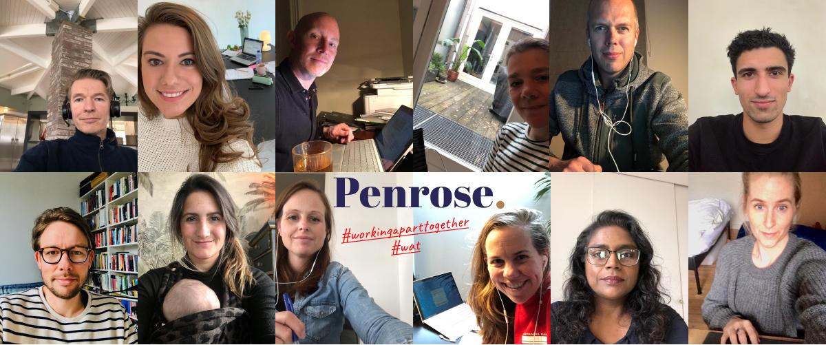 Collage van de penrose medewerkers die thuis werken